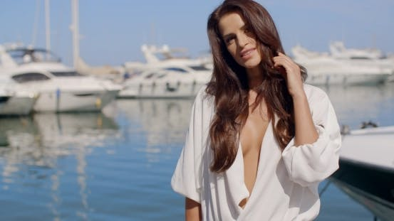 Thumbnail for Sexy Elegant Brunette Woman At The Marina