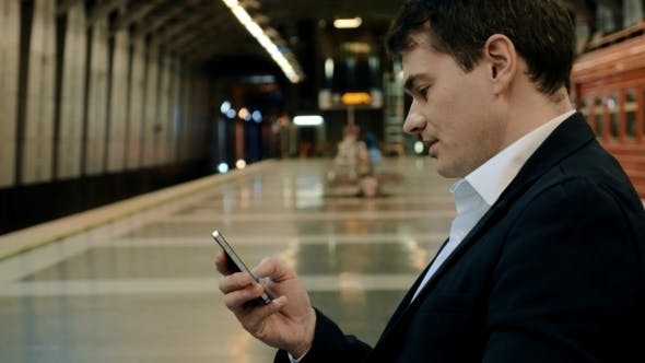 Thumbnail for Young Handsome Businessman Texting