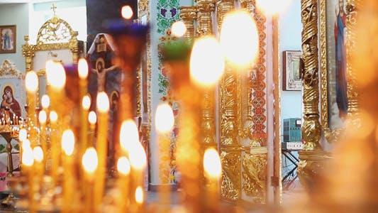 Church Candles in Church