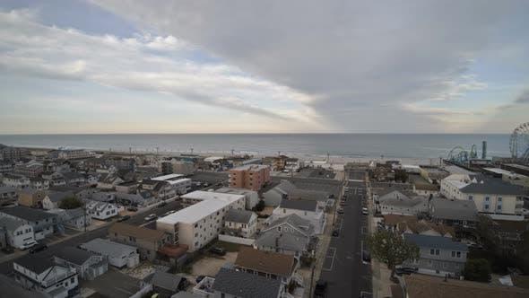 Neighborhood Between Suburban Bay Area on Aerial View of Seaside Heights Bay NJ US
