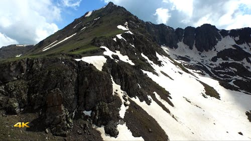 Aerial Snowy Rocky Mountain
