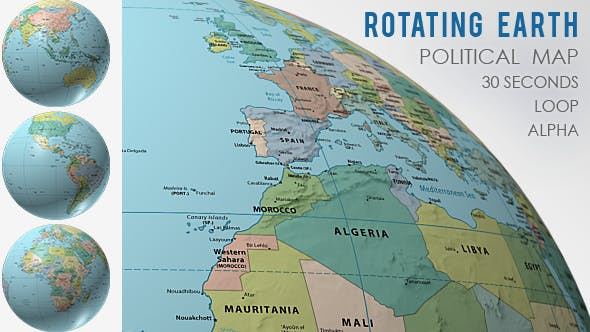 Rotating Globe World Political Map