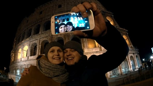 Thumbnail for Couple Making Selfie In Rome At Night