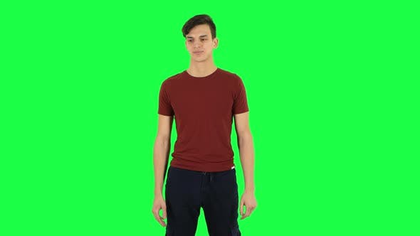 Cover Image for Guy Focused Thinks About Something. Green Screen