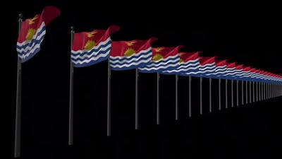 Row Of Kiribati Flags With Alpha 2K