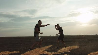 Two Strong Fighters Performing Martial Art in Soil Field with Dust on Sunset