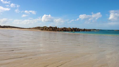 Empty Sandy Beaches Of Brittany