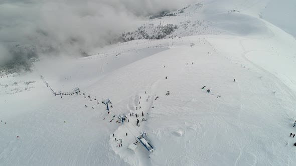 Thumbnail for Aerial view in foggy winter mountain, Environment, nature
