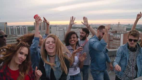 Thumbnail for Happy Diverse Clubbers on Rooftop