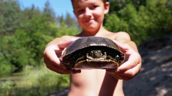 Thumbnail for Boy Holds Turtle in Arms and Smiles on Background of River with Green Vegetation