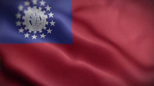 Myanmar Burma Flag Textured Waving Front Background HD