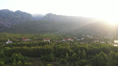 mountains and village sunrise