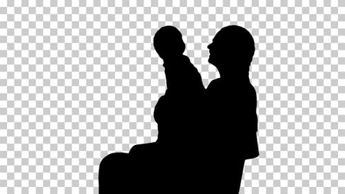 Silhouette  mother sitting , Alpha Channel