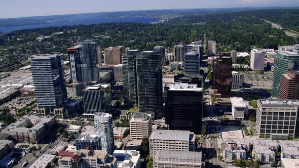 Cover Image for Bellevue Washington City Skyline Buildings Helicopter