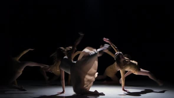 Thumbnail for Five Beautiful Girls Continue Dancing Modern Contemporary Dance, on Black, Shadow