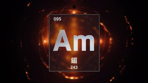 Americium as Element 95 of the Periodic Table on Orange Background in Chinese Language