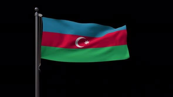 Azerbaijan Flag On Flagpole With Alpha Channel 4K