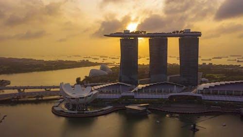 The Marina Bay Sands in Singapore City Skyline on sunrise