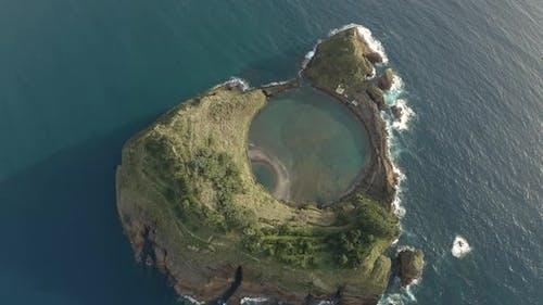 Aerial view of the Vila Franca do Campo in the Azores Archipelagos.