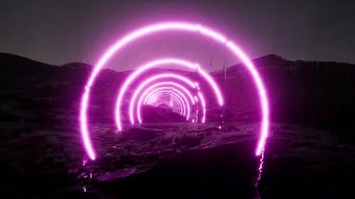 Futuristic Landscape Abstract Art Neon Galaxy Background.