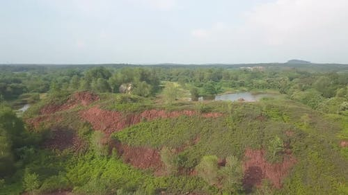 Drone shot red soil quarry