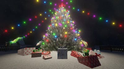3d Rendering New Year and Christmas Concept Animation Tree with Colorful Lights