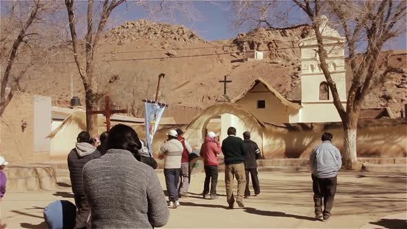 Thumbnail for People Walking into Church in the Andes Mountains.