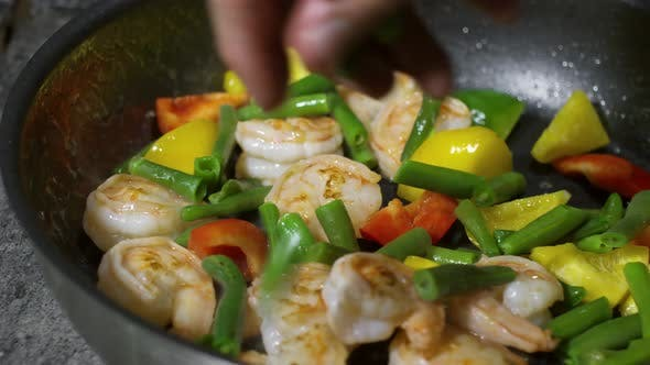 Thumbnail for Frying Shrimp with Fresh Vegetables
