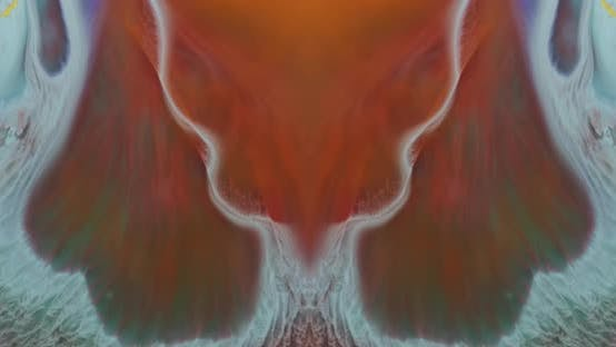 Thumbnail for Abstract liquid macro colors moving symmetrically in water creating sea waves effect.