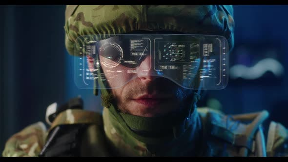 Soldier Using High-tech Sunglasses