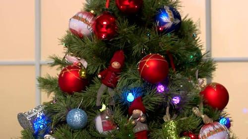 Christmas Decorations on Christmas Tree Close Up.