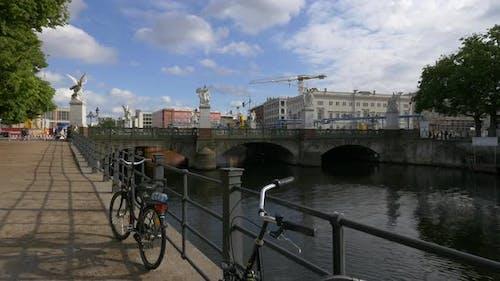 The Palace bridge over Spree river in Berlin
