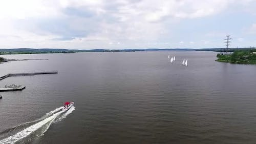 Regatta. Aerial view of Boats on the city pond 23
