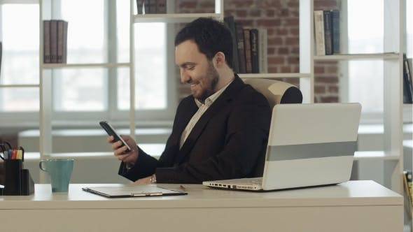 Thumbnail for Happy People With Businessman On The Phone Typing