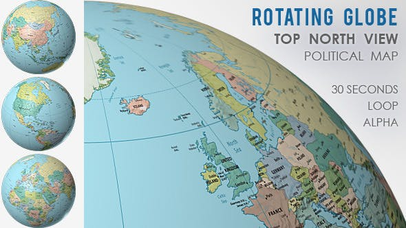 Rotating Globe World Political Map - Top View