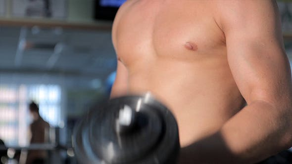 Thumbnail for Men Exercising For The Biceps In Gym