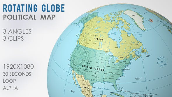 Rotating Globe World Map -  3 Views