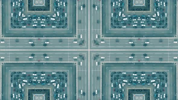 City Road Traffic Jam Kaleidoscopic Effect