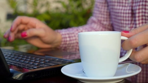 Thumbnail for Businesswoman Typing On Laptop Keyboard With Cup