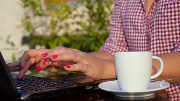 Thumbnail for Woman Hands Typing In Laptop Outdoors
