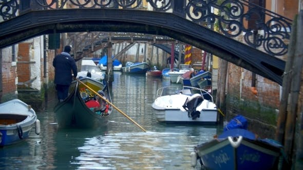 Thumbnail for Gondola With Tourists Sailing On Venetian Canal