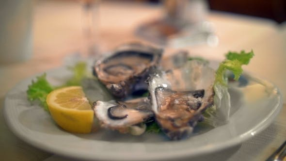 Thumbnail for Pouring Lemon Juice On Oysters