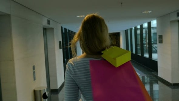 Thumbnail for Woman With Shopping Bags In Hotel Hall