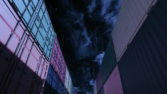 Thumbnail for Shipping Containers Under Midnight Sky Seamless Loop