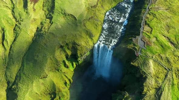 Thumbnail for Flying Over Skogafoss Waterfall