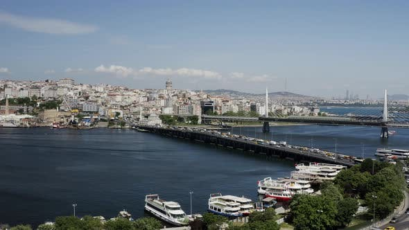 Thumbnail for Istanbul Bosphorus And Golden Horn Bridge Aerial View 3