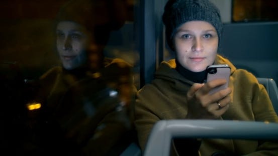 Thumbnail for Young Woman Typing Sms During Bus Ride