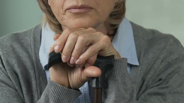 Cover Image for Elderly Woman Sighing Heavily, Thinking About Past, Lonely Senior Person
