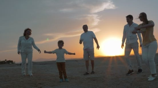Thumbnail for Happy Big Family Enjoying Evening On The Beach