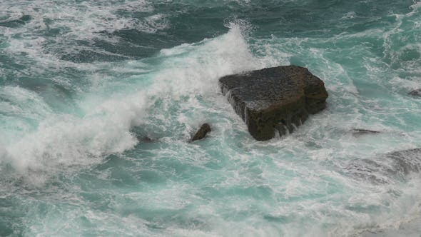 Thumbnail for Waves Atlantic Ocean Breaking onto Rocks